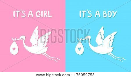 Flying stork with baby. It's a boy and girl. Vector illustration cartoon