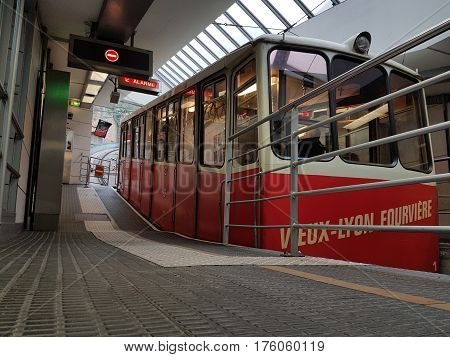 Lyon France - February 22 2017: Funicular F2 (Funiculaires de Lyon) Departs From The Station at Vieux-Lyon - Cathédrale Saint-Jean station