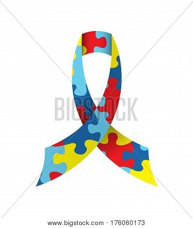 An autism awareness cause ribbon with colored jigsaw puzzle pieces isolated on a white background illustration. Vector EPS 10 available.