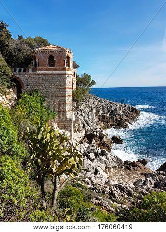 Mediterranean Sea Coastal Rocks Landscape Roquebrune-Cap-Martin France