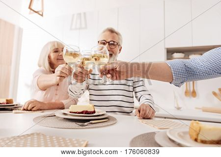 Celebrating family holiday. Optimistic glad positive aged couple having dinner and enjoying holiday with their mature son while raising glasses full of vine