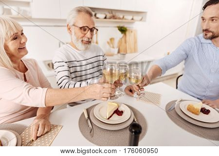 Enjoying family holiday. Sincere upbeat positive aged couple having dinner and enjoying holiday with their mature son while raising glasses full of vine