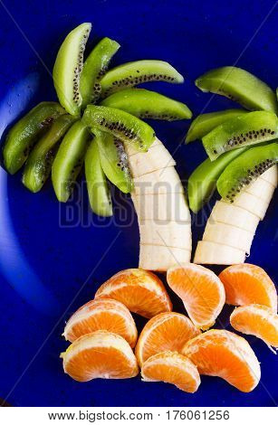 Funny fruit salad in form of tropical plams on blue plate close up