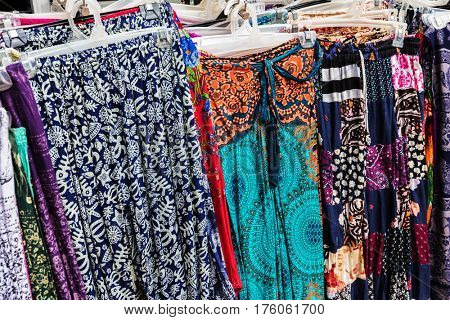 women's clothing on a street market, Cambodia, Siem Reap