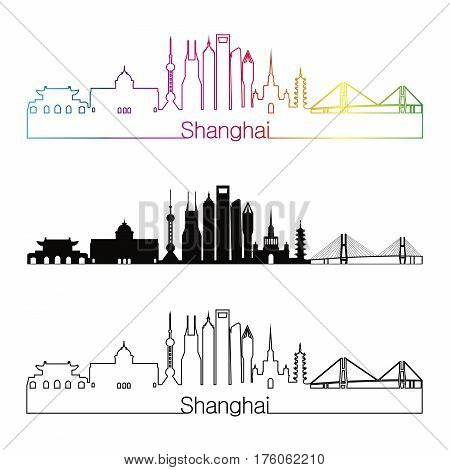 Shanghai Skyline Linear Style With Rainbow
