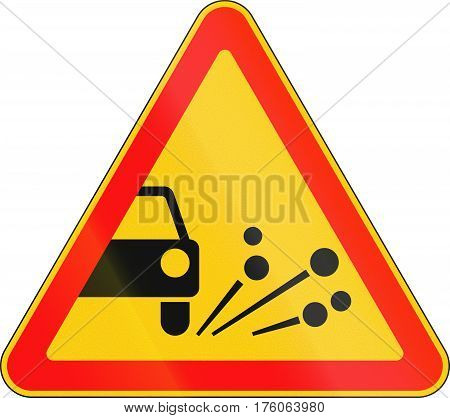 Warning Road Sign Used In Belarus - Loose Chippings