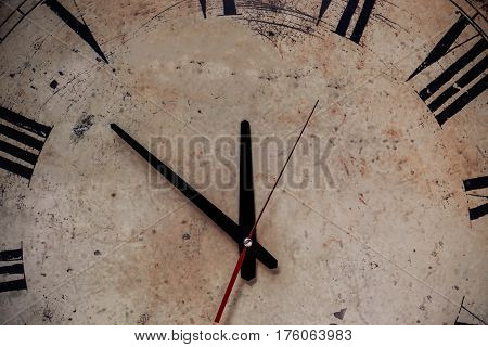 Background with the old clock and dusty.