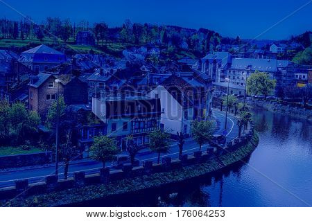 Embankment of the River Ourthe in the Belgian City of La Roche at Night
