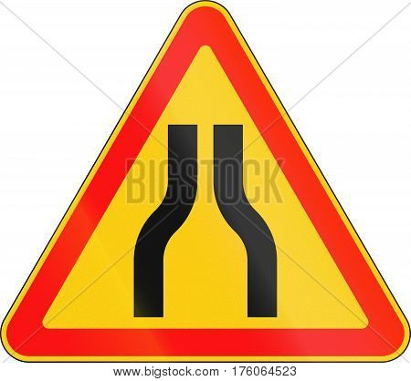 Warning Road Sign Used In Belarus - Road Narrows From Both Sides
