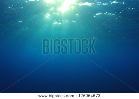 Blue water background and sunlight underwater