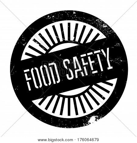 Food safety stamp. Grunge design with dust scratches. Effects can be easily removed for a clean, crisp look. Color is easily changed.