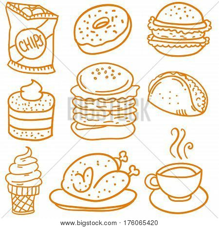 Collection stock of food element doodles vector art
