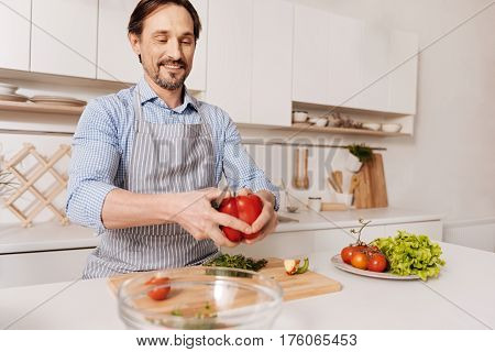 Following the recipe . Proficient skilled cheerful cook standing in the kitchen and cooking vegetarian salad while cutting vegetables