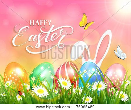 Easter theme with ears of bunny and butterflies flying above the colorful eggs in grass and flowers, pink nature background with sun beams and lettering Happy Easter, illustration.