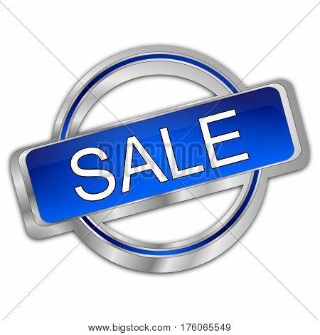 silver blue Sale button - 3d illustration