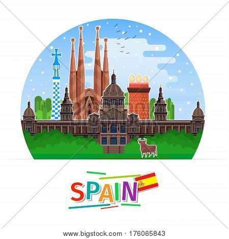 Concept of travel to Spain or studying Spanish. Spanish flag with landmarks. Flat design, vector illustration