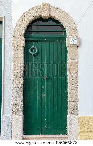 Wooden Door At Polignano A Mare In Puglia