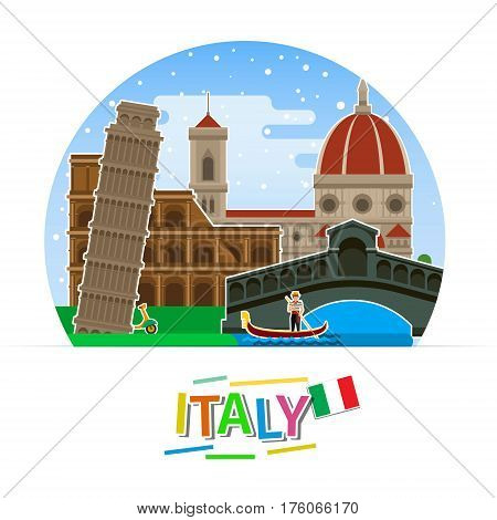 Concept of travel to Italy or studying Italian. Italian flag with landmarks. Flat design, vector illustration