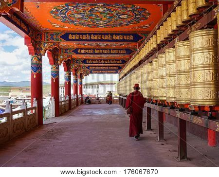 Prayer Wheels At Yarchen Gar In Sichuan, China