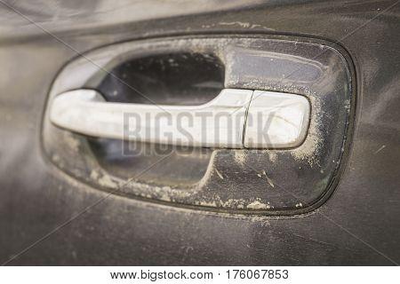 Abstract image of old car door handle. Macro shot.