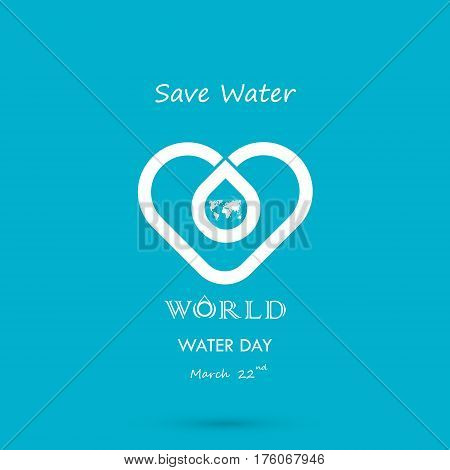 Water drop with world icon vector logo design template.World Water Day icon.World Water Day idea campaign for greeting card and poster.Vector illustration