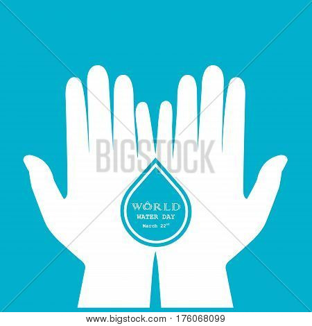 Water drop with human hand icon vector logo design template. World Water Day icon. World Water Day idea campaign for greeting card and poster. Vector illustration