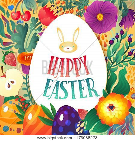 Happy Easter Greeting Card. Little Bunny and Eggs. Festive Floral and Berry banner background. Decorative Happy Holiday Illustration for print, web.