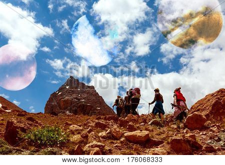 Surrealistic Alien Planet Mountain View and Group of People Hikers walking up on red Mountain Trail