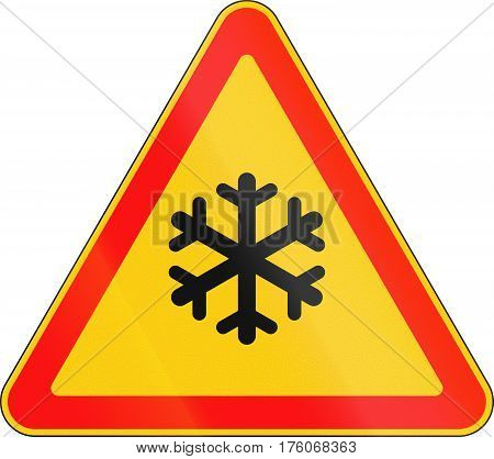 Belarusian Road Warning Sign - Snow Or Frost