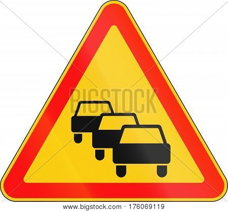 Warning Road Sign Used In Belarus - Traffic Queues Likely