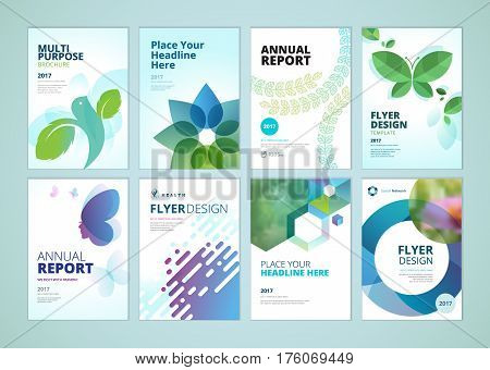 Beauty and natural products brochure cover design and flyer layout templates collection. Vector illustrations for marketing material, ads and magazine, products presentation templates.