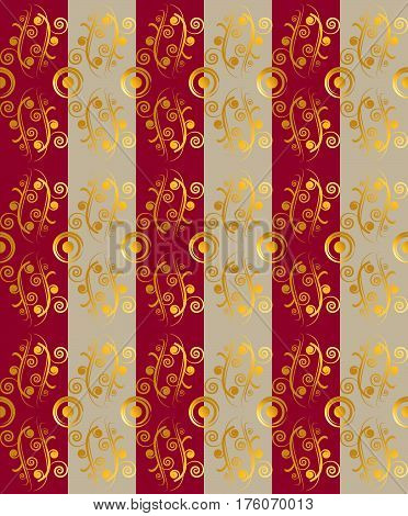 Vector illustration. Red and beige stripes alternate. Above the stripes is a golden floral ornament.  Seamless ornament. Vertical arrangement of the ornament.