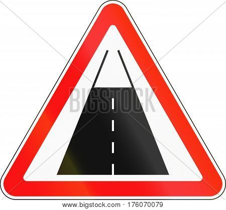 Belarusian Road Sign - End Of The Road With Pavement Surface