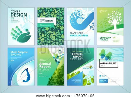 Natural and organic products brochure cover design and flyer layout templates collection. Vector illustrations for marketing material, ads and magazine, products presentation templates.