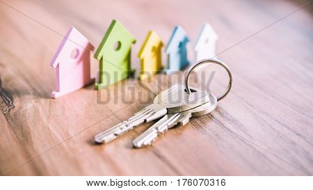 Silver Keychain in front of colourful miniature symbol of houses laying on the wooden surface.