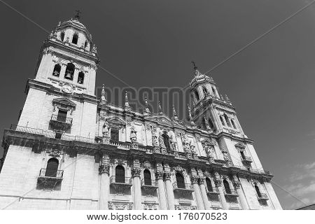 Jaen (Andalucia Spain): the medieval cathedral built from 13th to 18th century in Baroque style. Facade. Black and white