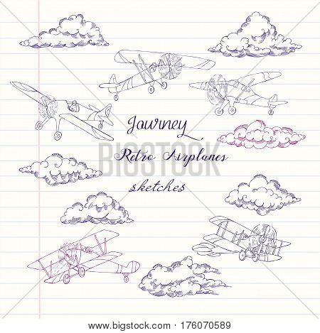 Background with  Airplanes and Clouds. Hand drawn sky vector illustration