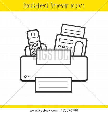 Office electronics linear icon. Thin line illustration. Fax, telephone, printer contour symbol. Vector isolated outline drawing