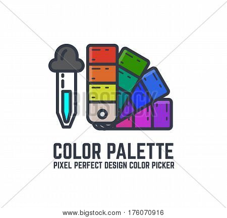 Color picker and palette thin line style flat vector illustration. Swatch palette and pipette. Artist and design colors samples and tool. Retro eyedropper with paint.