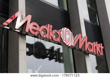 Letters Mediamarkt On A Store In Amsterdam