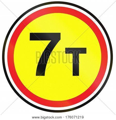 Road Sign Used In Belarus - Maximum Weight