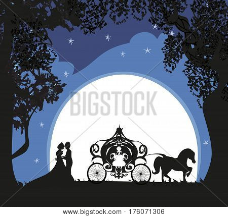 Prince princess and carriage at night , vector illustration