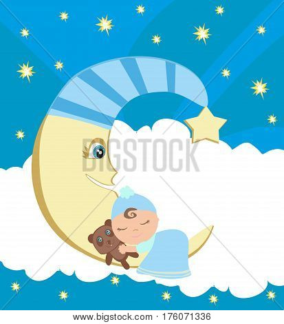 Cute little boy sleeping on moon , vector illustration