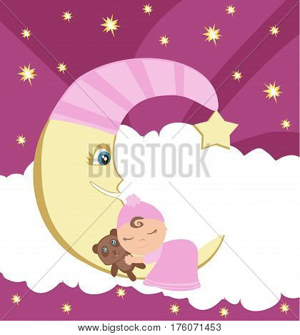 Cute little girl sleeping on moon , vector illustration