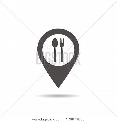 Cafe and restaurants location icon. Drop shadow map pointer silhouette symbol. Fork and spoon eatery sign inside pinpoint. Vector isolated illustration