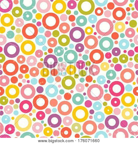 Colorful seamless pattern with circles. Fabric print. Cute abstract background. EPS10 vector illustration.