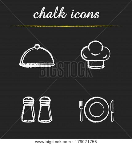 Restaurant kitchen items chalk icons set. Salt and pepper shakers, chef's hat, covered dish, fork, plate and table knife. Isolated vector chalkboard illustrations