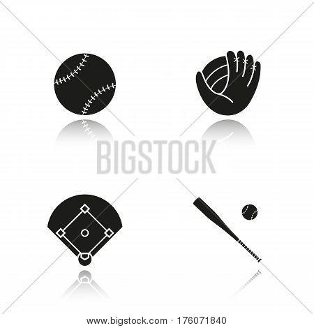 Baseball drop shadow black icons set. Bat and ball, mitt, field. Softball equipment. Isolated vector illustrations