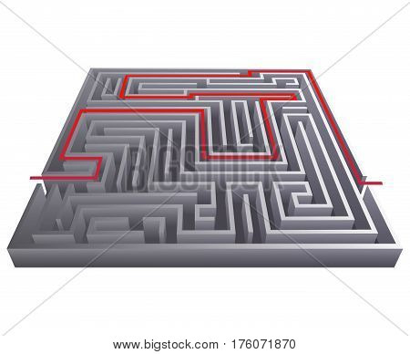 Way pass labyrinth intricacy isometric maze background 3d design template vector illustration