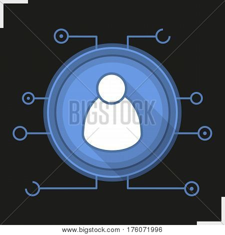 Admin user flat design long shadow icon. Cyber security. Personal data. Vector silhouette symbol